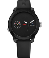 1791326 Denim 44mm Black gents watch with silicone strap