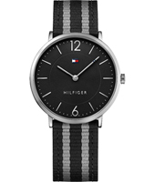 1791329 Ultra Slim 40mm Silver & black quartz watch with textile over leather strap