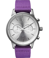 NEST109CL06 Nevil Chrono 40mm Silver Chrono with Purple Canvas/Leather Strap