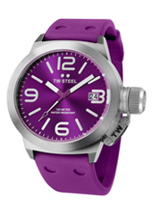 TW515 Canteen 45mm Purple & Steel Watch with Date, Rubber Strap