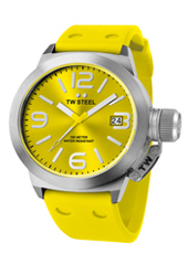 TW520 Canteen 45mm Yellow & Steel Watch with Date, Rubber Strap