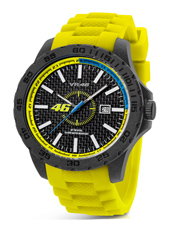 VR2  45mm Carbon watch with yellow rubber strap