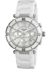 MS13625-02 Limoges White Ceramic Ladies Chrono with Date