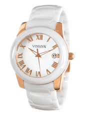 MR13660-02  Ceramic Rose Gold & White Ladies Watch